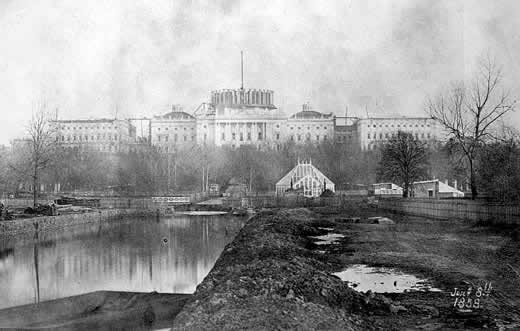 Conservatory and unfinished U.S. Capitol in mid 1800s