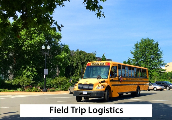 field trip logistics -- school bus on street in front of the garden