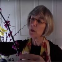 Marta McDowell talks about a tree in an online class